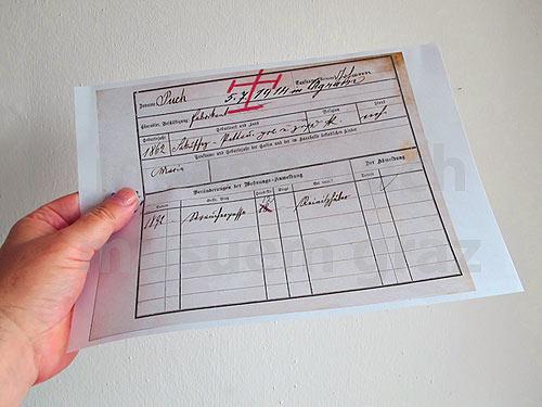 Grazer Dokument mit dem Sterbetag 5. Juli 1914