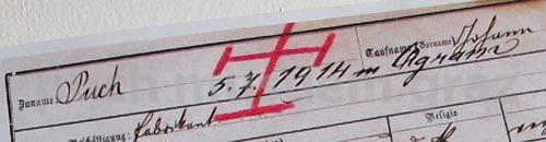 Ausschnitt mit handschriftlichem Vermerk