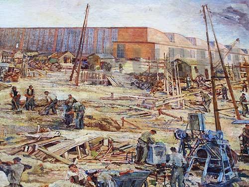 Ein an details reiches Gemälde vom Bau des Thondorfer Werkes