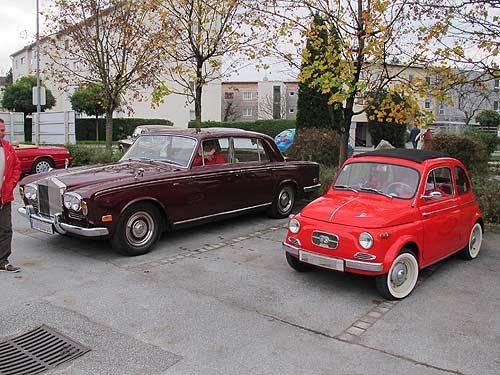 Sozialer und formaler Kontrast: Pucherl (Ovoid) trifft auf Rolls Royce (Ponton)