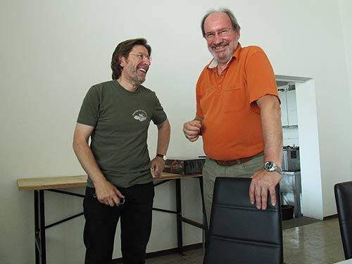 Medienfachmann Heimo Müller und Musuemsleiter Karlheinz Rathkolb