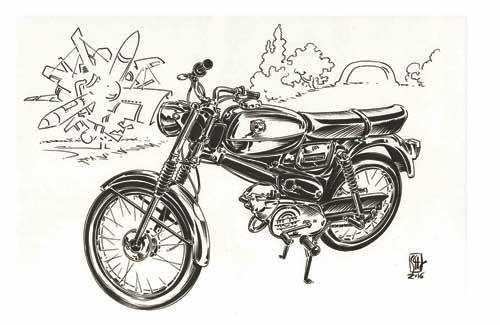 Eine Puch VZ 50, gezechnet von Graphic Novelist Chris Scheuer
